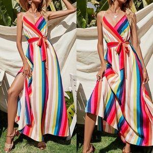 Boho split hem belted cami maxi dress